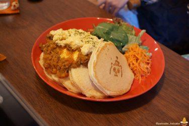 ポッロ(pollo)でドライカレー×パンケーキを食べたレポートと桃のスペシャルパンケーキbyパンケーキマン(大阪/松屋町)