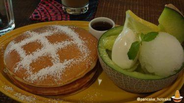 激ウマ♪贅沢なメロンのパンケーキ!自家製レモンシャーベット&マスカルポーネ&ハニーメープル!juen(ジュエン)(大阪/天神橋六丁目)