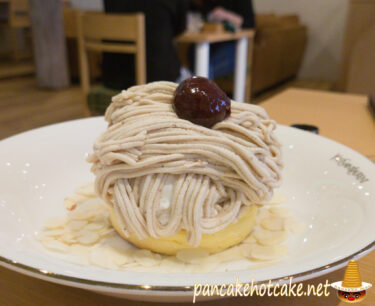 モンブランもちもちパンケーキ ¥890円(税別)カフェ ブロウ(cafe blow)大阪 日根野