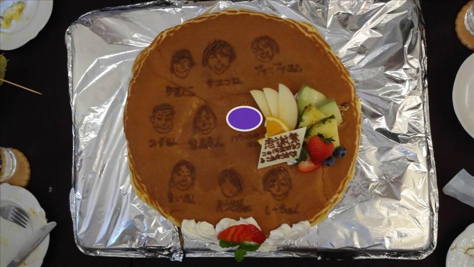 らんらん感謝祭!特大パンケーキには似顔絵w アンジュジュメール(大阪/日本橋)
